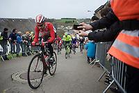 Thomas De Gendt (BEL/Lotto-Soudal) leading the race up the Cote de Saint-Roche (1850m/6.3%) in Houffalize<br /> <br /> 102nd Li&egrave;ge-Bastogne-Li&egrave;ge 2016