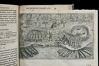Battle between Champlain and the Iroquois, 1613, from the Book of the Voyages of Champlain, written and drawn by Samuel de Champlain, 1574-1635, navigator and draftsman, from the Archives of the Quebec Seminary, in the Musee de la Civilisation, or Museum of Civilisation, Quebec City, Quebec, Canada. The Historic District of Old Quebec is listed as a UNESCO World Heritage Site. Picture by Manuel Cohen