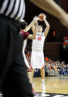 Virginia forward/center Mike Tobey (10) shoots over Florida State center Boris Bojanovsky (15) during the second half of an NCAA basketball game Saturday Jan. 18, 2014 in Charlottesville, VA. Virginia defeated Florida State 78-66. (AP Photo/Andrew Shurtleff)