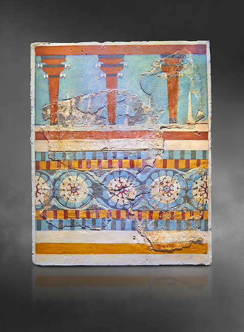 "The Minoan ""Three columned Shrine"" minture fresco Knossos-Palace, 1700-1450 BC . Heraklion Archaeological Museum.,grey background<br /> <br /> <br /> The freco depicts a portico with columns on which double axes are fixed, separated by horns of consecration, on a balustrade decorated with rosettes"