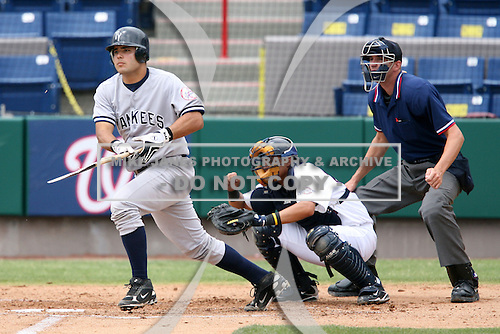 April 15, 2009:  Catcher Jesus Montero of the Tampa Yankees, Florida State League Class-A affiliate of the New York Yankees, during a game at Space Coast Stadium in Viera, FL.  Photo by:  Mike Janes/Four Seam Images
