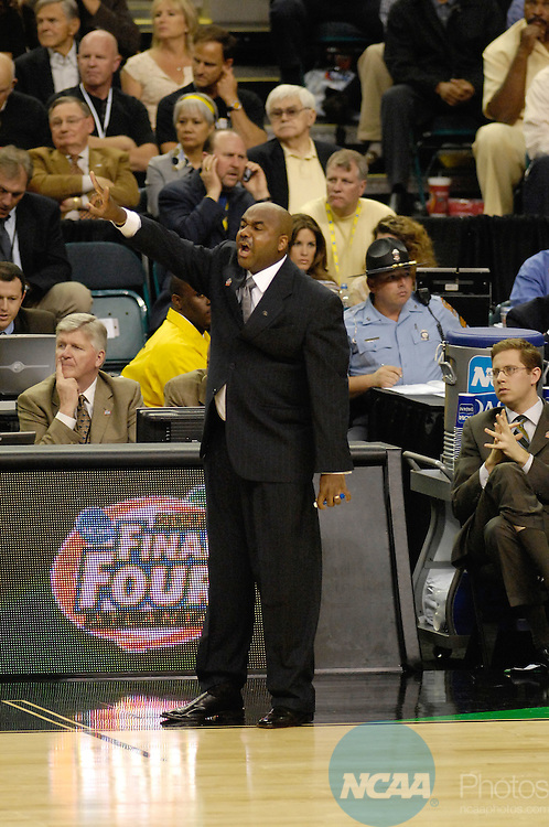 31 MAR 2007:  Coach John Thompson III of Georgetown yells to his players during the Ohio State University vs Georgetown University national semifinal game at the NCAA Men's Division I Basketball Final Four held at the Georgia Dome in Atlanta, GA. Brett Wilhelm/NCAA Photos