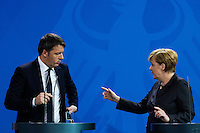 29 January 2016 - Berlin, Germany - German Chancellor Angela Merkel welcomes the Italian Prime Minister Matteo Renzi on January 29, 2016 to a talk in Berlin. After the talk both appear together before the press. The Chancellor and the Italian Prime Minister show unity on the fundamental line in Europe in the refugee policy. Photo Credit: Stocki/face to face/AdMedia
