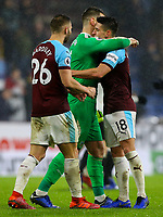 Burnley's Ashley Westwood, Tom Heaton and Phil Bardsley celebrate after the final whistle<br /> <br /> Photographer Alex Dodd/CameraSport<br /> <br /> The Premier League - Burnley v Fulham - Saturday 12th January 2019 - Turf Moor - Burnley<br /> <br /> World Copyright © 2019 CameraSport. All rights reserved. 43 Linden Ave. Countesthorpe. Leicester. England. LE8 5PG - Tel: +44 (0) 116 277 4147 - admin@camerasport.com - www.camerasport.com
