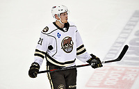 HERSHEY, PA - DECEMBER 01: Hershey Bears center Hampus Gustafsson (21) rests during a time out during the Springfield Thunderbirds at Hershey Bears on December 1, 2018 at the Giant Center in Hershey, PA. (Photo by Randy Litzinger/Icon Sportswire)