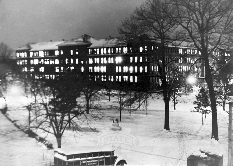 Old Main Dormitory at Night in the Snow (© Mississippi State University)