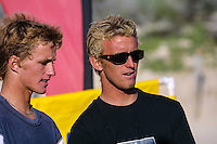 Josh Kerr (AUS) and Craig Warton (AUS).. Cottesloe Beach, Perth, Western Australia, Saturday August 18 2001..A round of  The Quiksilver Airshow International Series, with $20,000 in prize-money was run today at Cottesloe Beach. The Quiksilver Airshow is the richest and most spectacular surfing event to be staged at a Perth Beach. The contest is based around the futuristic moves of aerial surfing, where each surfer  is judged on their best two aerial manoeuvres in each heat. (Photo: joliphotos.com)
