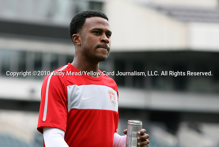28 May 2010: Robbie Findley. The United States Men's National Team held a practice session at Lincoln Financial Field in Philadelphia, Pennsylvania the day before playing Turkey in their final home friendly prior to the 2010 FIFA World Cup in South Africa.