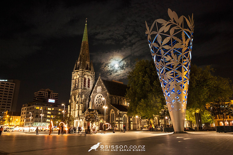 Cathedral Square at night with the Christchurch Cathedral and the Chalice Sculpture (by Neil Dawson) Canterbury, New Zealand - stock photo, canvas, fine art print