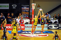 Katrina Grant and Jo Harten compete for the ball during the ANZ Netball Championship match between the Central Pulse and Waikato Bay Of Plenty Magic at TSB Bank Arena, Wellington, New Zealand on Monday, 30 March 2015. Photo: Dave Lintott / lintottphoto.co.nz