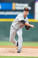 Starting pitcher Matt Fox #47 of the Rochester Red Wings in action against the Charlotte Knights at Knights Stadium August 1, 2010, in Fort Mill, South Carolina.  Photo by Brian Westerholt / Four Seam Images