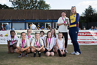 Kelly Castle  of Essex presents the U11's with the Lady Taverners Cup during Upminster CC vs Essex CCC, Benefit Match Cricket at Upminster Park on 8th September 2019