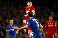 3rd March 2020; Stamford Bridge, London, England; English FA Cup Football, Chelsea versus Liverpool; James Milner of Liverpool run is blocked by Marcos Alonso of Chelsea