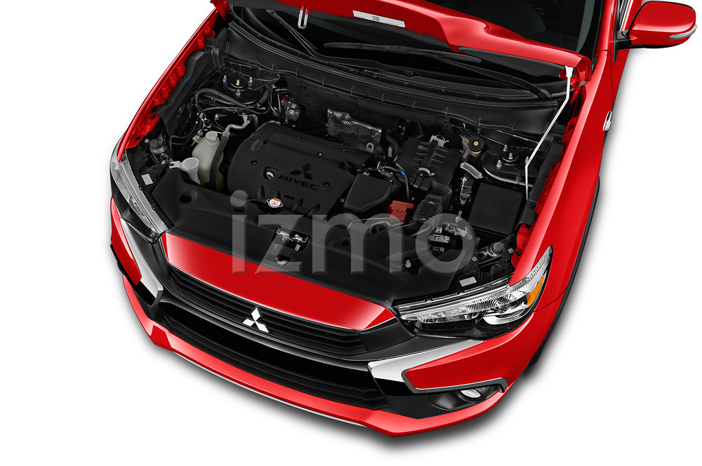 Car Stock 2017 Mitsubishi Outlander-Sport GT 5 Door SUV Engine  high angle detail view