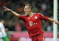 FUSSBALL   1. BUNDESLIGA  SAISON 2011/2012   15. Spieltag   03.12.2011 FC Bayern Muenchen - SV Werder Bremen        JUBEL Torschuetze  Franck Ribery (FC Bayern Muenchen)