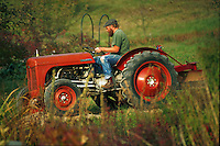 Man on tractor at organic farm.