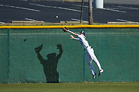 Wingate Bulldogs right fielder Ricky Clark (24) tries to make a leaping catch during the game against the Concord Mountain Lions at Ron Christopher Stadium on February 2, 2020 in Wingate, North Carolina. The Mountain Lions defeated the Bulldogs 12-11. (Brian Westerholt/Four Seam Images)