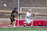 San Diego, CA 05/25/13 - Ben Keen (La Costa Canyon #15) and Carson Havlik (Torrey Pines #17) in action during the 2013 CIF San Diego Section Open DIvision Boys Lacrosse Championship game.  Torrey Pines defeated La Costa Canyon 7-5.