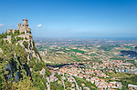 San Marino City is situated on Mount Titano, Italy.