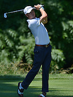 Bethesda, MD - June 25, 2016: Justin Thomas hits a shot from the tee on the 13th hole during Round 3 of professional play at the Quicken Loans National Tournament at the Congressional Country Club in Bethesda, MD, June 25, 2016.  (Photo by Don Baxter/Media Images International)