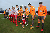 The teams shake hands during Stevenage vs Reading, Emirates FA Cup Football at the Lamex Stadium on 6th January 2018