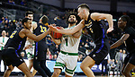SIOUX FALLS, SD - MARCH 8: Marlon Stewart #1 of the North Dakota Fighting Hawks drives into traffic against Purdue Fort Wayne at the 2020 Summit League Basketball Championship in Sioux Falls, SD. (Photo by Richard Carlson/Inertia)