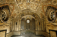 An overall view of the interior of the shell-encrusted pavilion that was created by Sarah, Duchess of Richmond in the grounds of Goodwood House