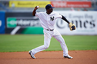 New York Yankees shortstop Didi Gregorius (18) throws to first base during a Spring Training game against the Detroit Tigers on March 2, 2016 at George M. Steinbrenner Field in Tampa, Florida.  New York defeated Detroit 10-9.  (Mike Janes/Four Seam Images)