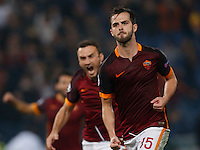 AS Roma's Miralem Pjanic celebrates after scoring during the Champions League Group E soccer match between As Roma and  Bayer Leverkusen at the Olympic Stadium in Rome, November 04 2015