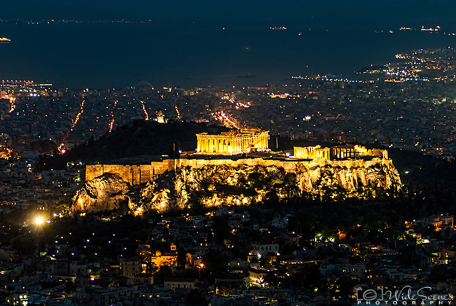 A night-time image of the Acropolis in Athens, Greece.
