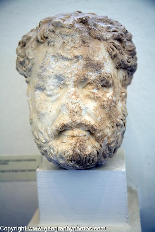 Head Roman emperor Antoninus, Archaeological museum, Rhodes, Greece