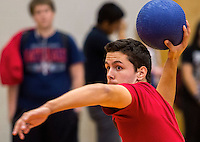 NWA Democrat-Gazette/JASON IVESTER <br /> Aaron Pavlak (cq), Rogers Heritage High junior, takes aim at an opposing team during a game of dodgeball on Thursday, Nov. 12, 2015, at the school. Seventeen teams paid a $20 entry fee and student spectators paid $1 to raise money for United Way of Northwest Arkansas. Winning teams will compete in the championship of the tournament today (FRIDAY).