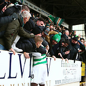 3rd February 2019, McDiarmid Park, Perth, Scotland; Ladbrokes Premiership football, St Johnston versus Celtic;  Timothy Weah of Celtic celebrates with the fans after he makes it 2-0 to Celtic in the 89th minute