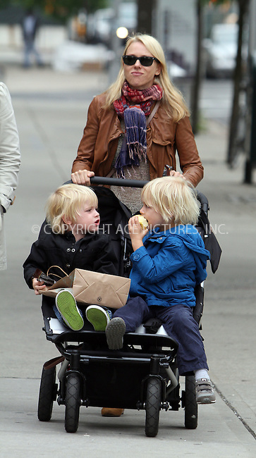 WWW.ACEPIXS.COM . . . . .  ....May 3 2012, New York City....Actress Naomi Watts takes her sons Alexander and Samuel out in a stroller in their Noho neighborhood on May 3 2012 in New York City....Please byline: Zelig Shaul - ACE PICTURES.... *** ***..Ace Pictures, Inc:  ..Philip Vaughan (212) 243-8787 or (646) 769 0430..e-mail: info@acepixs.com..web: http://www.acepixs.com