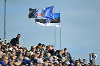 A general view of two Bath Rugby flags in the crowd. European Rugby Champions Cup match, between Bath Rugby and Toulouse on October 25, 2014 at the Recreation Ground in Bath, England. Photo by: Patrick Khachfe / Onside Images