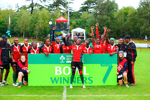 23.08.2015. Dublin, Ireland. Women's Sevens Series Qualifier 2015. Kenya versus Colombia<br /> Kenya celebrate winning the bowl.