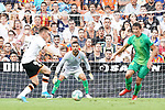Valencia CF's Kevin Gameiro (l) and Real Sociedad's Miguel Angel Moya (c) and Robin Le Normand during La Liga match. August 17,2019. (ALTERPHOTOS/Acero)