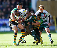 Vereniki Goneva of Leicester Tigers takes on the Northampton Saints defence. Aviva Premiership match, between Northampton Saints and Leicester Tigers on April 16, 2016 at Franklin's Gardens in Northampton, England. Photo by: Patrick Khachfe / JMP