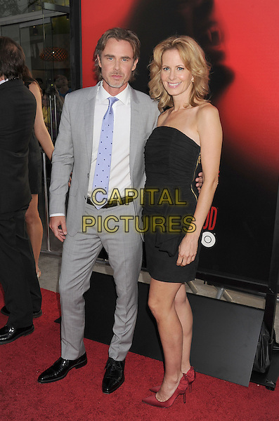 Sam Trammell, Missy Yager<br /> &quot;True Blood&quot; Season 6 Los Angeles Premiere held at The Cinerama Dome, Hollywood, California, USA.<br /> June 11th, 2013<br /> full length grey gray suit white shirt blue tie black strapless dress married husband wife <br /> CAP/ROT/TM<br /> &copy;Tony Michaels/Roth Stock/Capital Pictures