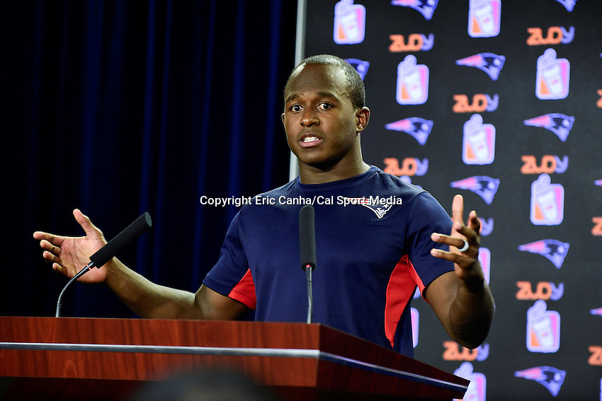Wednesday, July 27, 2016: New England Patritots wide receiver and special teams captain Matthew Slater talks to media at a press conference at the New England Patriots training camp held Gillette Stadium in Foxborough Massachusetts. Eric Canha/CSM