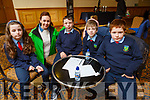 Scoil Ide Currane Castleisland students taking part in the Cara Credit Union Quiz in the Brandon Hotel on Sunday. L to r: Colm Quirke, Roisin Smullen (Cara Credit Union), Sean O'Connor,  Oisin McKenna and Cadhla O'Connell.