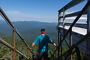 The summit of Mount Carrigain during the summer months in the New Hampshire White Mountains. Named after Phillip Carrigain, who was NH Secretary of State from 1805-1810.
