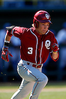 Craig Aikin #3 of the Oklahoma Sooners runs the bases against the UCLA Bruins at Jackie Robinson Stadium on March 9, 2013 in Los Angeles, California. (Larry Goren/Four Seam Images)