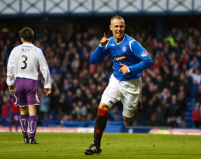 Kenny Miller celebrates his second goal of the match