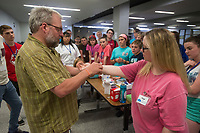 NWA Democrat-Gazette/BEN GOFF @NWABENGOFF<br /> Students watch as Tom Burroughs, director of Ozark Safety &amp; Rescue Educators and class instructor, demonstrates how to close a wound on Paige Holden, a nursing student helping with the class, Thursday, June 7, 2018, during Wilderness First Aid training at Rogers New Technology High. The Wednesday through Saturday session also includes CPR and automatic external defibrillator training. The training was sponsored by Rogers Public Schools and was open to students and educators from outside the school district.