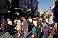 Crowds shopping in the souq markets of Izmir, Turkey.
