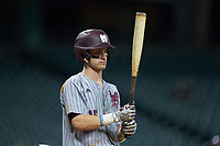 Jake Mangum (15) of the Mississippi State Bulldogs at bat against the Sam Houston State Bearkats during game eight of the 2018 Shriners Hospitals for Children College Classic at Minute Maid Park on March 3, 2018 in Houston, Texas. The Bulldogs defeated the Bearkats 4-1.  (Brian Westerholt/Four Seam Images)