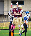 WATERBURY,  CT-101219JS18- Sacred Heart-Kaynor's Michael Scott (3) celebrates his touchdown catches with teammate Giovanni Gallo (36) during their game against Crosby Saturday at Municipal Stadium in Waterbury.<br /> Jim Shannon Republican-American