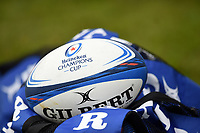 A Heineken Champions Cup branded ball. Heineken Champions Cup match, between Bath Rugby and Stade Toulousain on October 13, 2018 at the Recreation Ground in Bath, England. Photo by: Patrick Khachfe / Onside Images