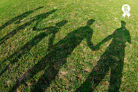 Shadows of family holding hands on grass, elevated view (Licence this image exclusively with Getty: http://www.gettyimages.com/detail/200476766-001 )
